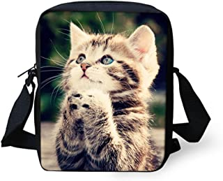 HUGS IDEA Cute Cat Pattern Mini Crossbody Bag for Teen Girls Small Shoulder Handbag Clutch Purse Satchel Kids Schoolbag