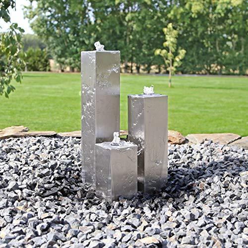CLGarden Edelstahl Springbrunnen ESB8 Design Säulenbrunnen eckig mit LED Beleuchtung Wasserspiel Set