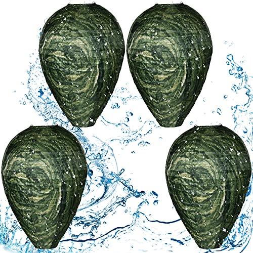 Honoson Señuelos de Nidos de Avispas Impermeable Disuasor de Avispones Colgantes Nido de Avispas de Tela Falsa Señuelo de Abeja No Tóxico para Casa y Jardín (4, Verde Oscuro)