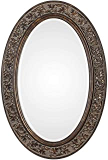 """Spinner Floro Aged Bronze Oval Mirror 