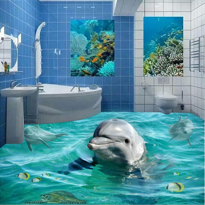 con 60% de descuento Hwhz Personalizado Personalizado Personalizado Cualquier Tamao De Papel Tapiz De Fotos Lindo Dolphin Bao Piso Autoadhesivo Pvc Impermeable Wallpaper Mural Para Sala De Estar-200X140Cm  Para tu estilo de juego a los precios más baratos.
