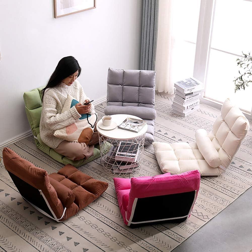 LWLEI Tatami Canapé Fauteuil 5 Positions réglable Salon canapé-lit Pliant réglable Plancher Chaise Longue dormeur Doux Matelas siège Chaise Salon Durable (Couleur : Marron) Rose