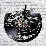 fdgdfgd Clásico CD Disco Ballena Océano Paisaje Decoración Reloj Mar Animal Disco de Vinilo Reloj de Pared 3D Moderno año Nuevo