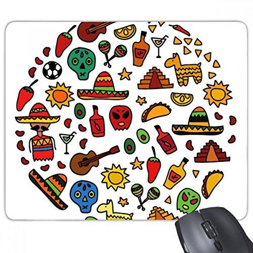 Schedel Gitaar Peper Voetbal Mexicaanse Cultuur Ronde Illustratie Rechthoek Antislip Rubber Mousepad Game Mouse Pad Gift