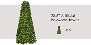 ECOOPTS Artificial Boxwood Trees Highly Realistic Decorative Buxus Tower, Topiary UV Resistant Fake Tree for Home Garden/Indoor & Outdoor Use 6 Pack