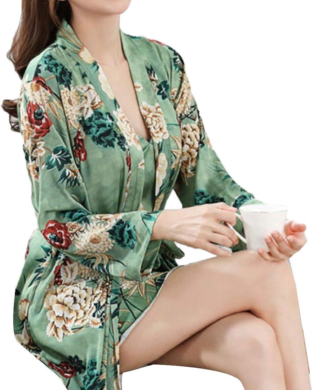 EtecredpowCA Womens 2 Pcs Loungewear Nightie Printing Sleepshirts Bathrobe Pajama Set