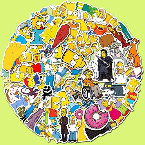 JINER Europa y los Estados Unidos Dibujos Animados Calientes Simpsons Pegatina para Equipaje monopatín portátil Pegatinas de Graffiti a Prueba de Agua 50