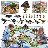 DigHealth 20 Pcs Dinosaurios Juguetes, Figuras de Dinosaurio Set con Tapete de Juego, Incluir Tyrannosaurus Rex, Triceratops, Libro Ilustrado, Volcán y Fósiles, Regalo Educativo para Niños 3+ Años