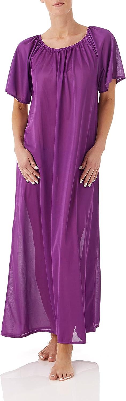 AmeriMark Women's Long Nightgown Set – Tricot Short Sleeve Silky Night Dresses