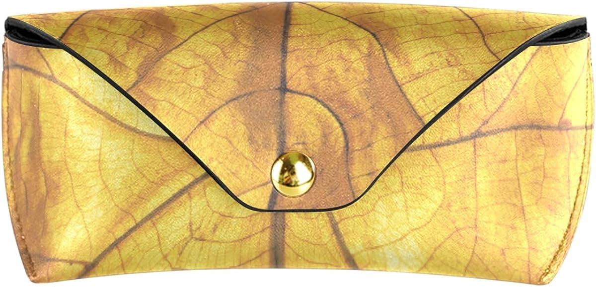 Portable Sunglasses Case Eyeglasses Pouch Travel Multiuse PU Leather Goggles Bag Art Golden Leaf