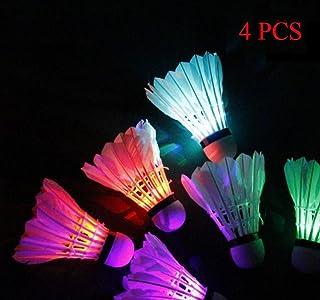 LED Badminton Set Shuttlecock Dark Night Glow Birdies Lighting for Outdoor/Indoor Sports Activities (Colorful)