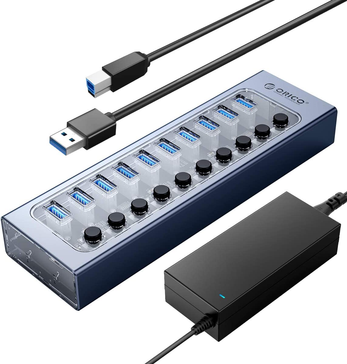 ORICO USB Hub 3.0 Powered 10 Ports USB Data Hub with 12V4A Power Adapter, Individual Power Switches, and LEDs, USB Extension for iMac Pro, MacBook Air/Mini, PS4, Surface Pro, Notebook PC, Laptop, HDD