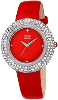 Burgi Women's BUR199 Swarovski Crystal & Diamond Accented Leather Strap Watch Packed in a Beautiful Gift Box for Valentines Day