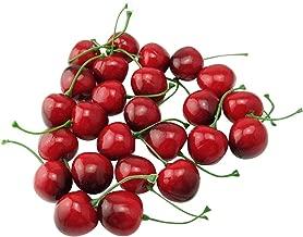 Cerise Fruits artificiels rouge D/écoration de Mariage No/ël maison Ornements suspendus 6*1cm 100Pcs