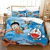 Juego de Ropa de Cama de Doraemon de 3 Piezas Anime Funda Nórdica con 2 Fundas de Almohada,Volando en el Cielo Azul Paisaje Funda Nórdica de Microfibra Suave,Tamaño 180X200CM