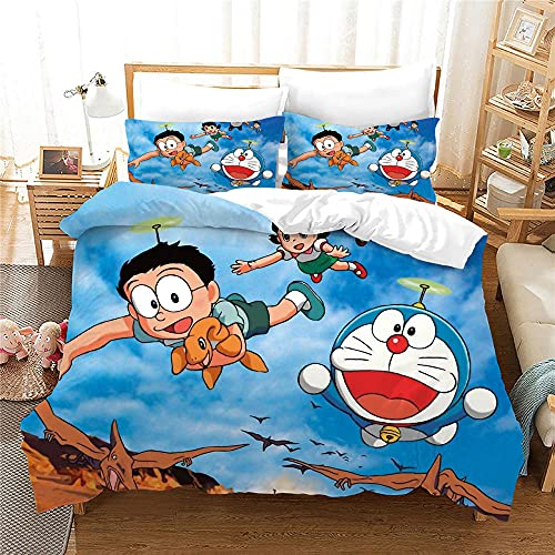 Juego de Ropa de Cama 3 Piezas - Doraemon Volando en el Cielo Azul - 1 Funda Nórdica 2 Funda...