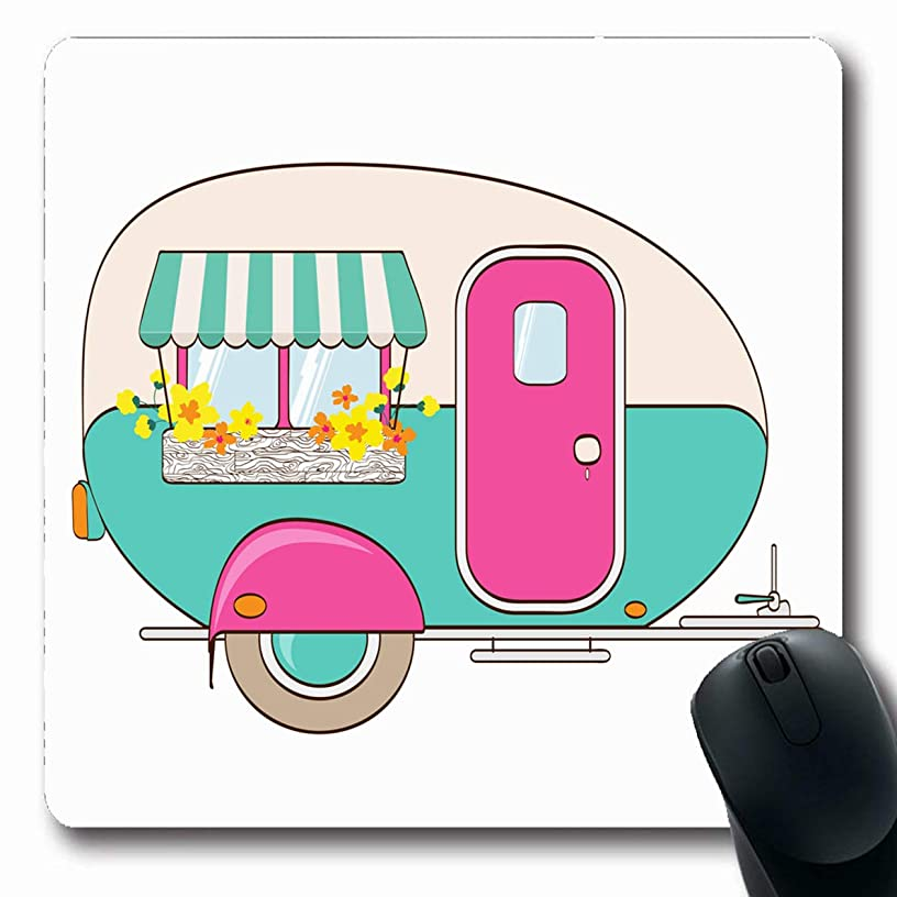 Ahawoso Mousepads for Computers Transport Happy Cute Pink Turquoise Camper Window Travel Awning Sports Recreation Box Candy Adventure Oblong Shape 7.9 x 9.5 Inches Non-Slip Oblong Gaming Mouse Pad
