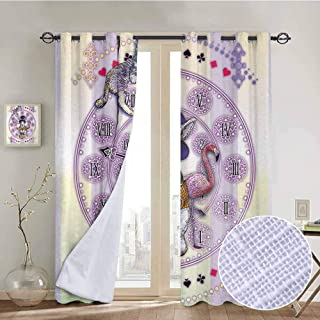 NUOMANAN Kitchen Curtains Animal,Alice in Wonderland Rabbit and Cat Fiction Story Novel Child Display Story,Lilac Pale Yellow,Rod Pocket Drapes Thermal Insulated Panels Home décor 84