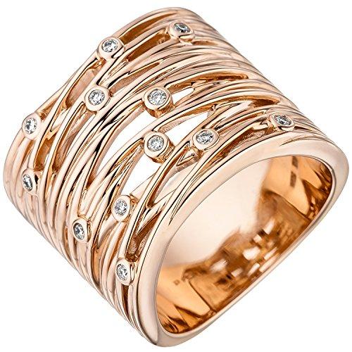 JOBO Damen-Ring aus 585 Rosegold mit 12 Diamanten Größe 60