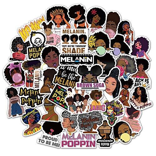 DUOYOU Pegatinas inspiradoras Melanin negro mujeres niñas ordenador portátil maleta monopatín equipaje motivacional etiqueta de juguete 100 piezas