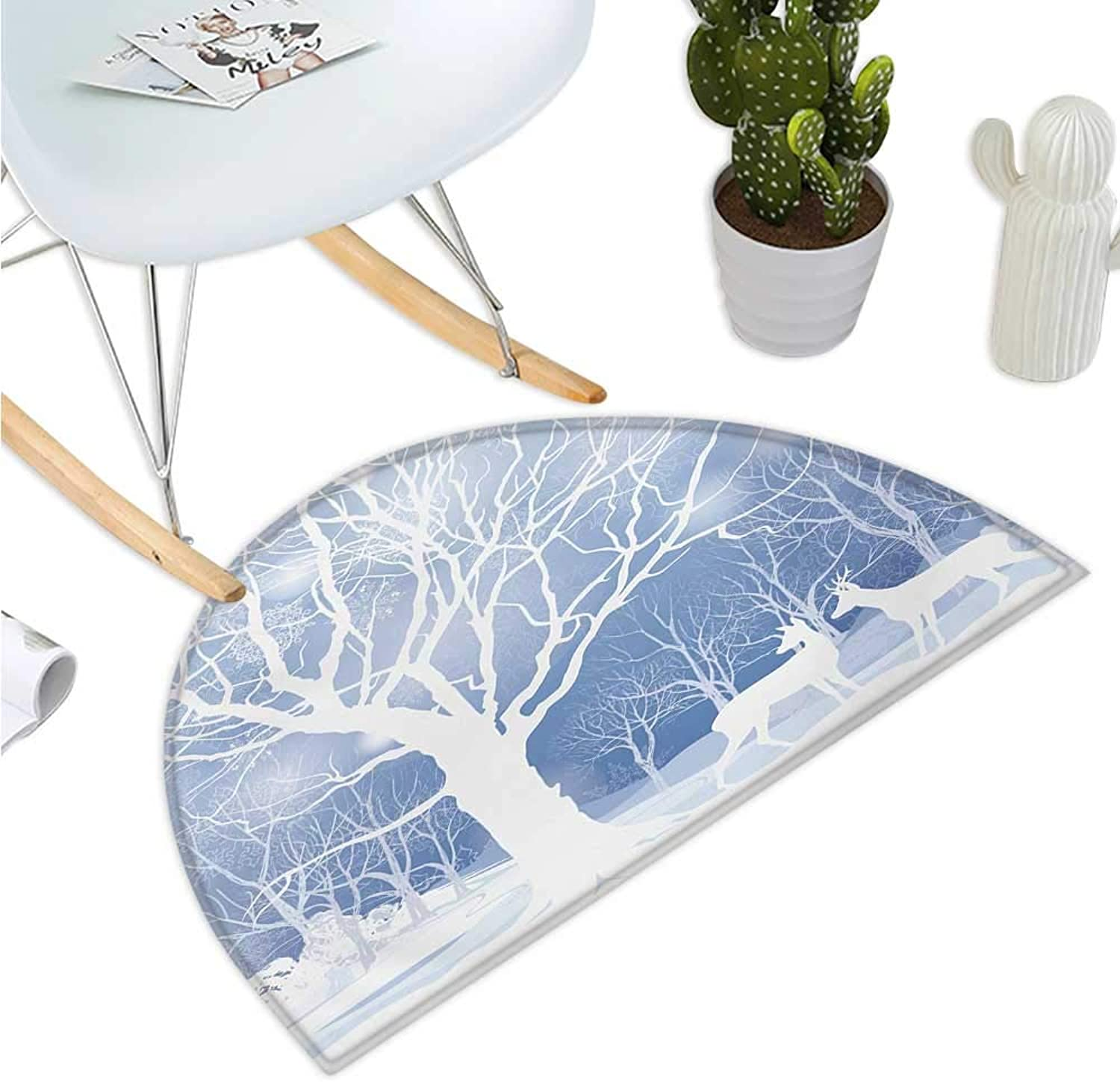 Winter Semicircular Cushion Abstract Winter Imagery with Snowy Weather Deer and Other Animals Seasonal Theme Bathroom Mat H 43.3  xD 64.9  bluee White
