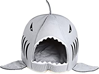 COCOPET Shark Bed for Small Cat Dog Cave Cozy Bed Removable Cushion, Waterproof Bottom