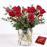Flores Frescas Florachic - 12 Rosas Rojas con jarrón rústico y bombones - flores...