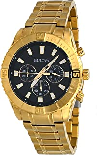 Bulova 97A165 Men's Gold Tone Stainless Steel Black Dial Chronograph Sports Watch