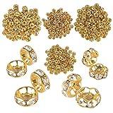 JNCH 400pcs 6mm+8mm Mixte Perles Intercalaires Rondelle Strass Dorée Perles D'espacement Bords Ondulés et Droit Perles Spacer Métal pour Création de DIY Bijoux Collier Bracelet Breloque