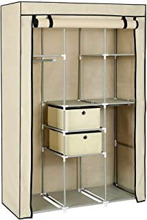 Armoire à vêtements portative Armoire de rangement à double tringle Penderie autoportante, Armoire Armoire de rangement po...