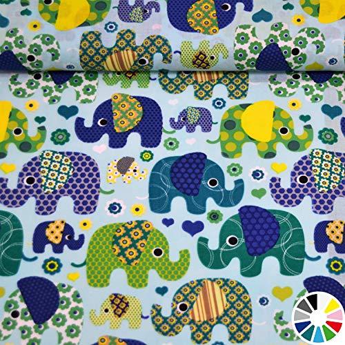MAGAM-Stoffe Julia Bunte Elefanten Kinder Baumwollstoff Meterware 50cm (5. Hellblau)