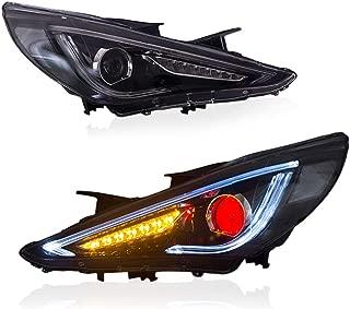 MICROPOWER LED Headlights for Hyundai Sonata 2011 2012 2013 2014 with Sequential Turn Signal, Dual Beam Lens, Demon Eyes Full LED & DRL Bars,Black