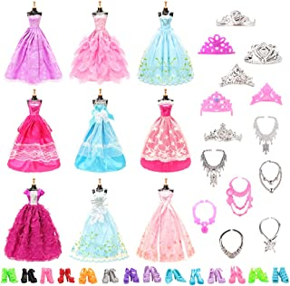 BARWA 10 Pcs Dresses with 17 Accessories Handmade Doll Clothes Wedding Gowns Party Dresses for Barbie Dolls (C: 10 Pcs Dresses + 17 Accessories)