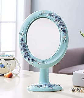 YXZQ Makeup Mirror, Desktop Vanity Mirror High List Mirror (Color : Forget me - Happiness Flower)
