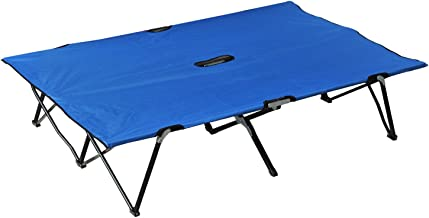 Outsunny Portable Two Person Double Folding Camping Cot for Adults - Blue
