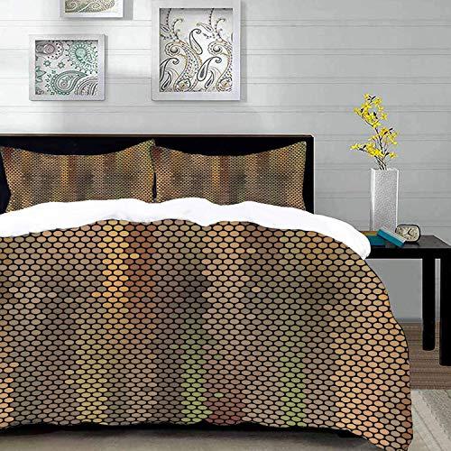 Bettwäsche-Set,Mikrofaser,Erdtöne,Party-Entertainment-Thema mit ikonischen Disco-Kugel inspiriert Muster gepun ,Ultra Soft hypoallergen Bett-Bezug,1 Bettbezug 200 x 200cm + 2 Kopfkissenbezug 80x80cm