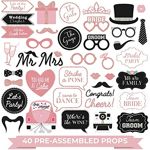 Fully Assembled Wedding Photo Booth Props - Set of 40 - Rose Gold  Pink  & Silver Selfie Signs - Wedding Party Supplies & Decorations - Cute Wedding Designs with Real Glitter - Did we mention no DIY?