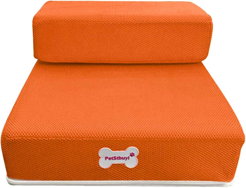 Cookisn New Pet Cat Dog Stairs Breathable Mesh Foldable Stairs Detachable Pet Bed Stairs Dog Ramp 2 Steps L Cama Perro orange 50 x30 x 10cm