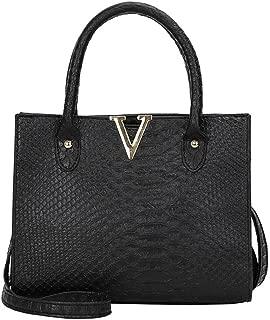 ChainSee Alligator Pattern Leather Messenger Crossbody Satchel Tote Handbag Shoulder Bag for Women Girl (Black)