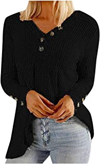 OULSEN Women Autumn Winter Casual Knitwear Blouse Button V Neck Long Sleeve T-shirt Fashion Loose Tunics Top