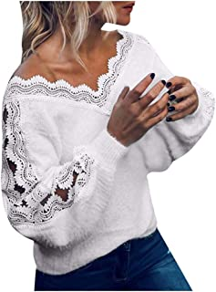 terbklf Ladies Lace Patchwork Knitting Tops Long Sleeve V Neck Sweater Winter Loose Pullover Lace Sweaters for Women