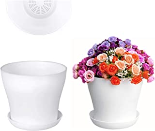 8 Pcs 6.5 Plastic Plant Flower Pots with Saucer, White Flower Plant with Drainage Hole and Tray for All House Plants (White)