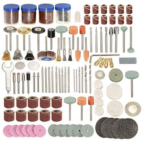 KANJJ-YU Metal 166pcs 1/8 Inch Shank Rotary Tool Accessories Set Polshing Tool Grinding Brush Polishing Wheel