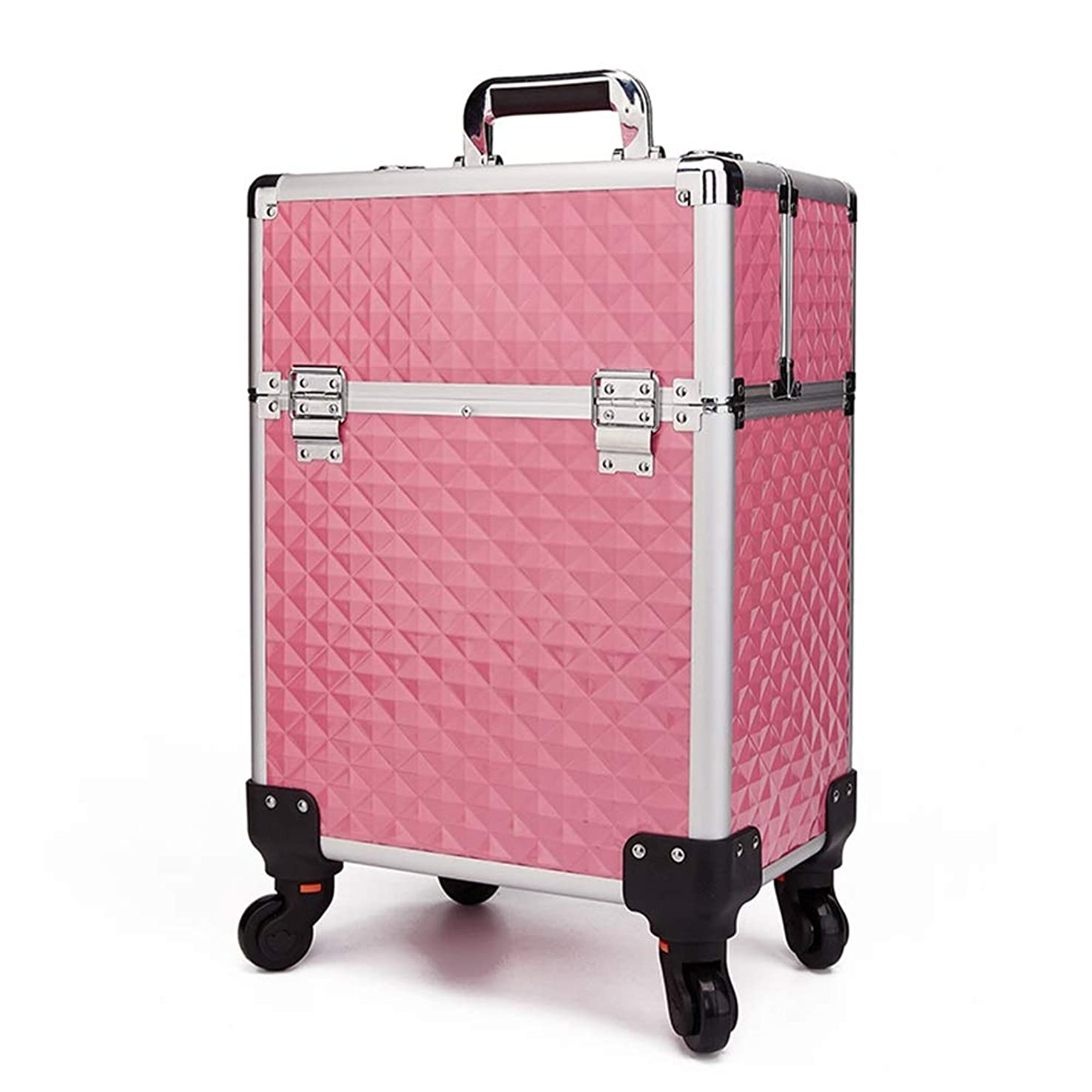 首フェッチ光景化粧オーガナイザーバッグ 360度ホイール3イン1プロフェッショナルアルミアーティストローリングトロリーメイクトレインケース化粧品オーガナイザー収納ボックス用ティーンガールズ女性アーティスト 化粧品ケース (色 : ピンク)