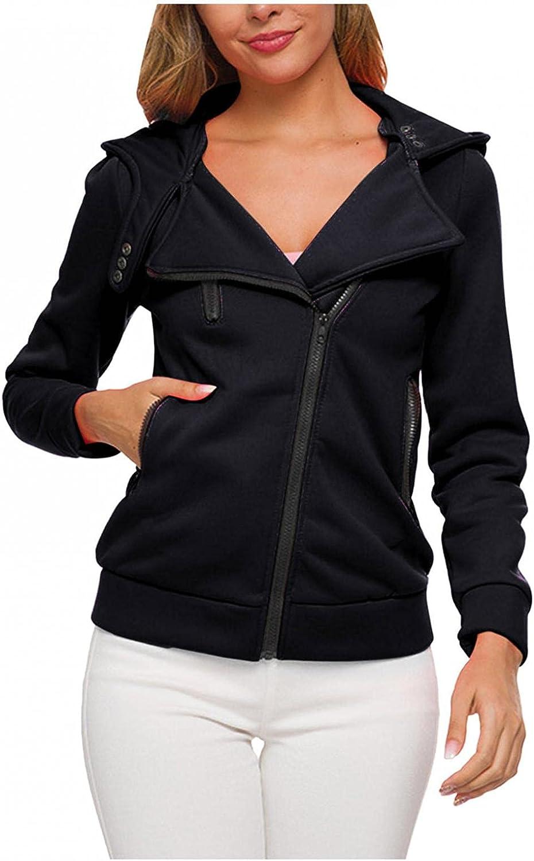 Women's Casual Long Sleeve Lapel Zipper Sweatshirt Drawstring Loose Pullover Tops