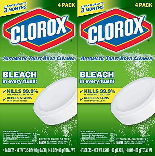 Clorox Automatic Toilet Bowl Cleaner Tablets with Bleach, (Each 4 Count of 3.5 oz Tablets) 14 oz, Pack of 2
