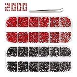 2000+ diamantes de imitación para manualidades, rojo y negro, 6...