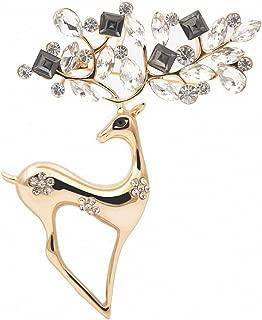 2 Colors Rhinestone Deer Brooches Women Christmas Reindeer Pins Luxury Coat Corsage Jewelry