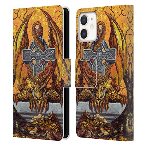 Head Case Designs Officially Licensed Ed Beard Jr Celtic Autumn Cross Dragons Leather Book Wallet Case Cover Compatible with Apple iPhone 12 Mini