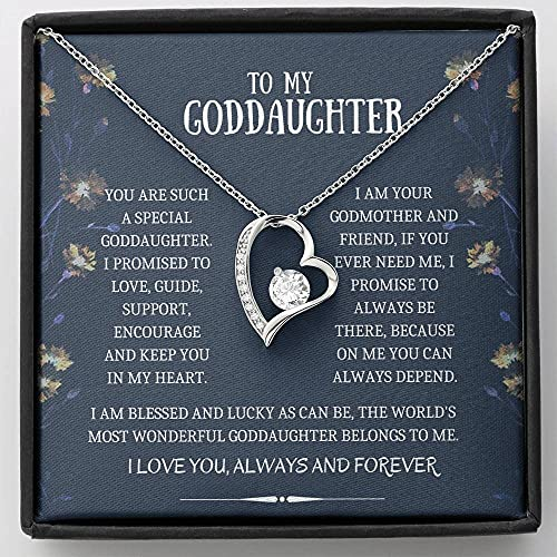 Personalized Necklace Gift, Goddaughter Gifts from Godmother- Goddaughter Baptism, Goddaughter Forever Love Necklace, First Communion, Girl Birthday, Christening, With Message Card & Box V19